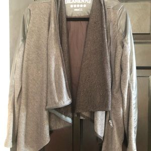 Olive and Dark Gray Faux Leather Blazer